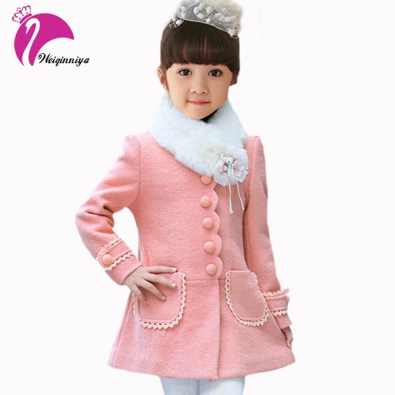 7c270f06e Teenage Girls Wool Coat Long Flower Winter Kids Outwear Coats ...