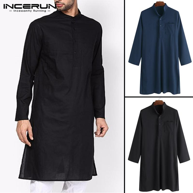 19977d428b Compre Streetwear Pullover Trajes De Kurta Camisa De Vestir Para Hombres  Ropa De Manga Larga Camisa Con Cuello Alto Pakistán Islámico Kurta Hombre  Tops ...