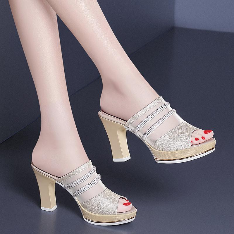 2019 Women Fashion Chunky Heels Sandals