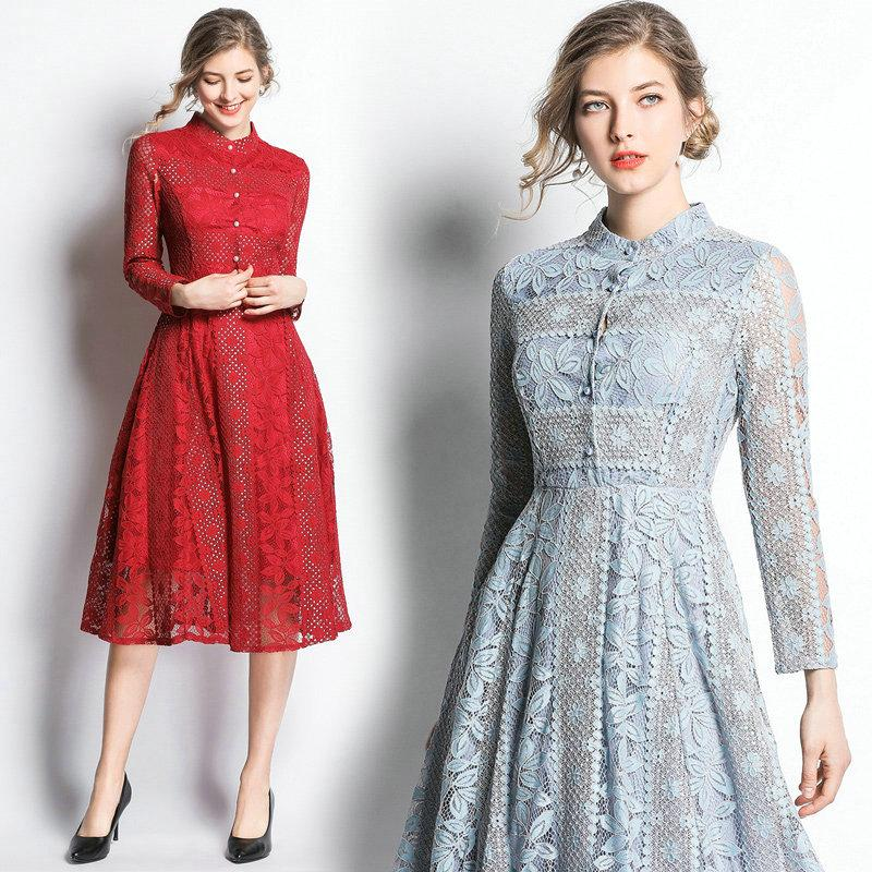 df62a146b24 2019 Stand Collar Lace Women Dress Long Sleeve Hollow Big Swing Dress  Fashion Prom Evening Dresses 2019 Spring Autumn Lace Dresses From Wrjmike