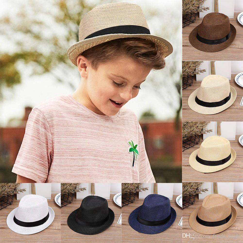 New Children Kids Summer Beach Straw Hat Jazz Panama Trilby Fedora Hat  Gangster Cap Outdoor Breathable Hats Girls Boys Sunhat Online with   4.58 Piece on ... 1ddfa1764db9
