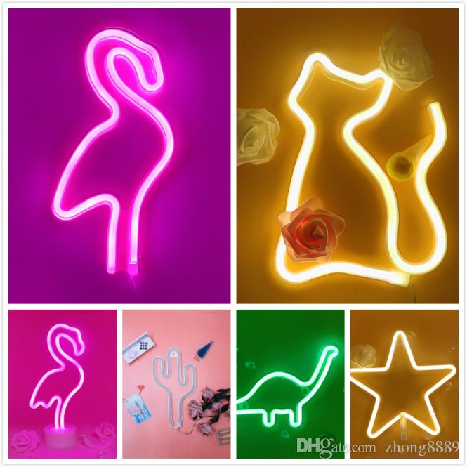 2019 Night Light Creative LED Green Cactus Neon For Kids Childrens Rooms Battery Power Night Lamp Table Lamp Party Decoration Lights