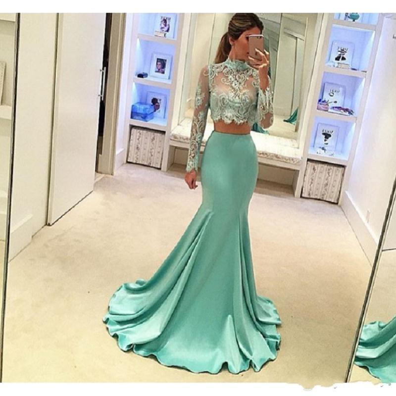 2019 New Mint Green 2 Piece Prom Dresses Long Sleeve Mermaid Style High Quality Sheer Lace Special Occasion Party Dress For Evening