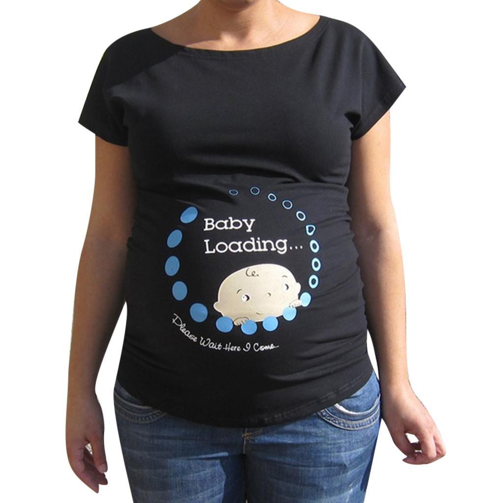 2c4e59297 Compre Carga De Bebé 2019 Verano Embarazo Tops Mujer Embarazada Lindo Bebé  Impreso Talla Grande Camiseta Divertida Maternity Lady Tops A  36.1 Del  Cornemiu ...