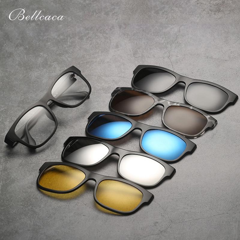 1ed978027e2 Acquista Bellcaca Montatura Occhiali Occhiali Da Donna Uomo Con 5 Clip Su  Occhiali Da Sole Polarizzati Adsorbente Magnetico Occhiali Da Vista  Maschili BC403 ...