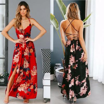 116daee871 Girl Red Floral Print Sexy Lace Up V Neck Women Maxi Dresses Summer Split Backless  Beach Long Vestidos Boho Dress Dress Clothes Gold Party Dress From ...