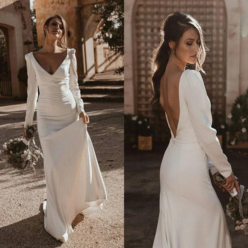 Bohemian mermaid Wedding Dresses 2020 Vintage Long Sleeves Deep V-Neck Backless Church Country Bridal Gowns vestido de noiva