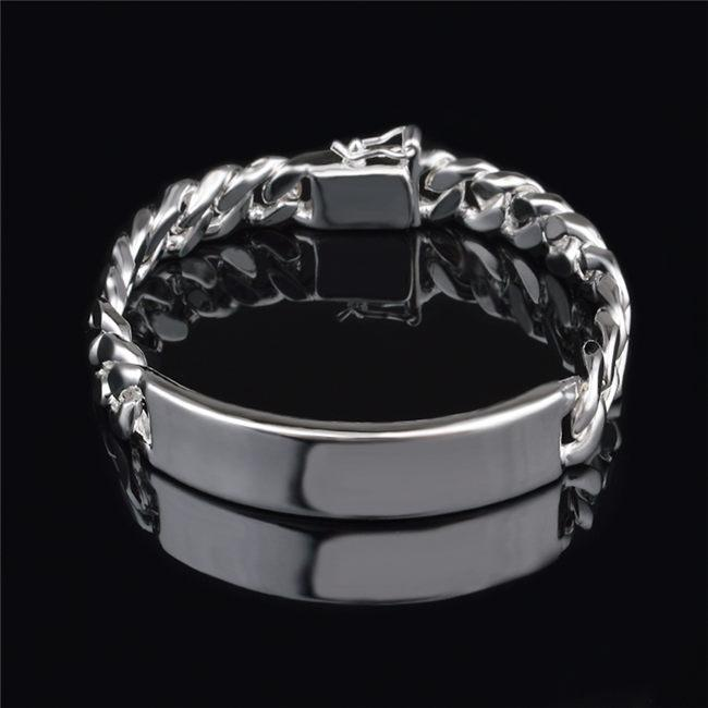Fashion Men's Jewelry 11MM 925 Sterling silver plated Figaro chain bracelet Top quality free shipping-P