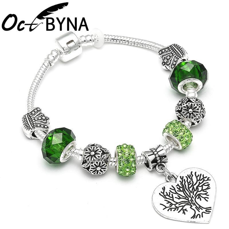 Cristal de moda encantos pulsera para las mujeres árbol de la vida colgante Pandora pulseras cuentas de plata serpiente cadena brazalete regalo de la joyería