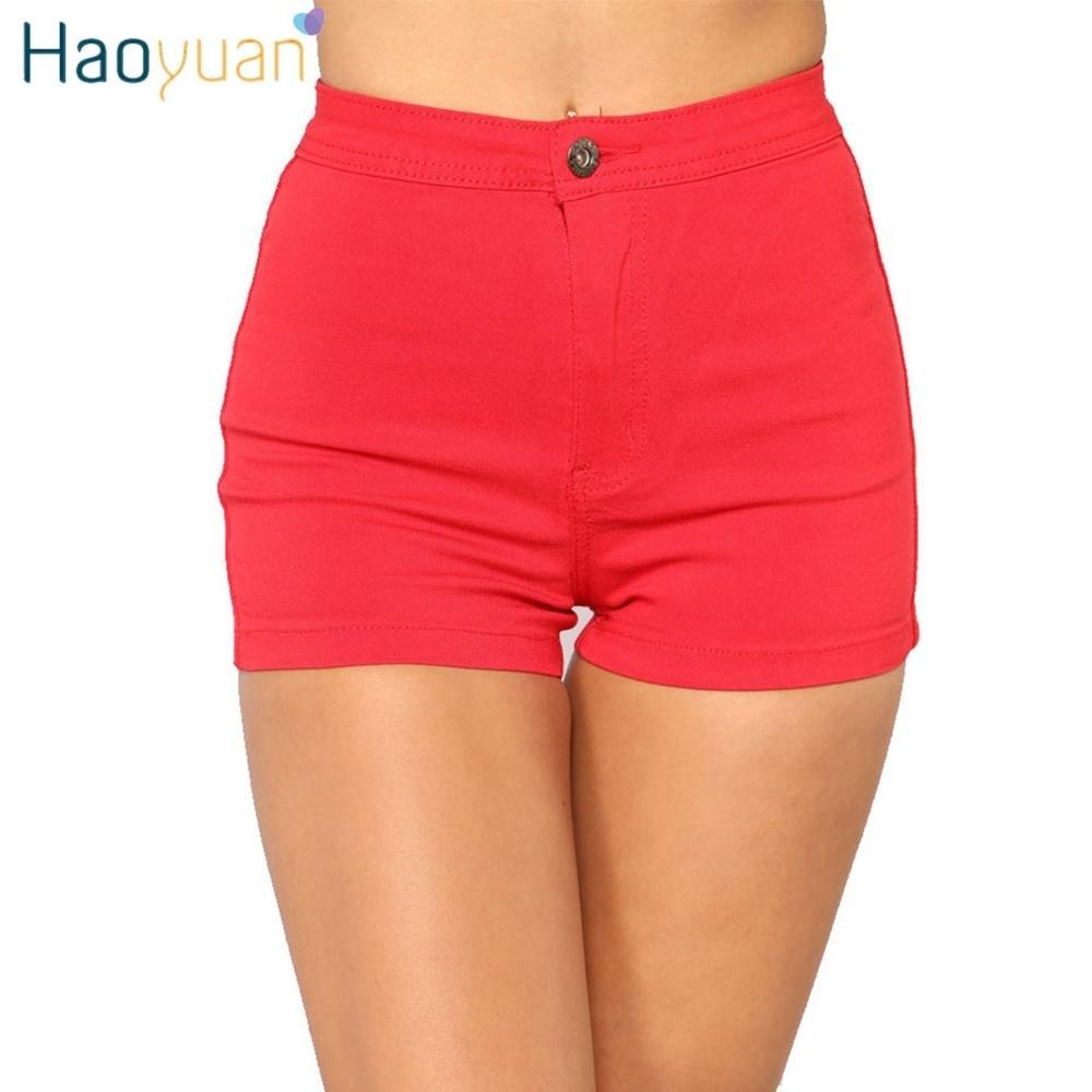 816ebc74ba 2019 Haoyuan Women Denim Shorts 2018 Summer Elastic High Waisted ...