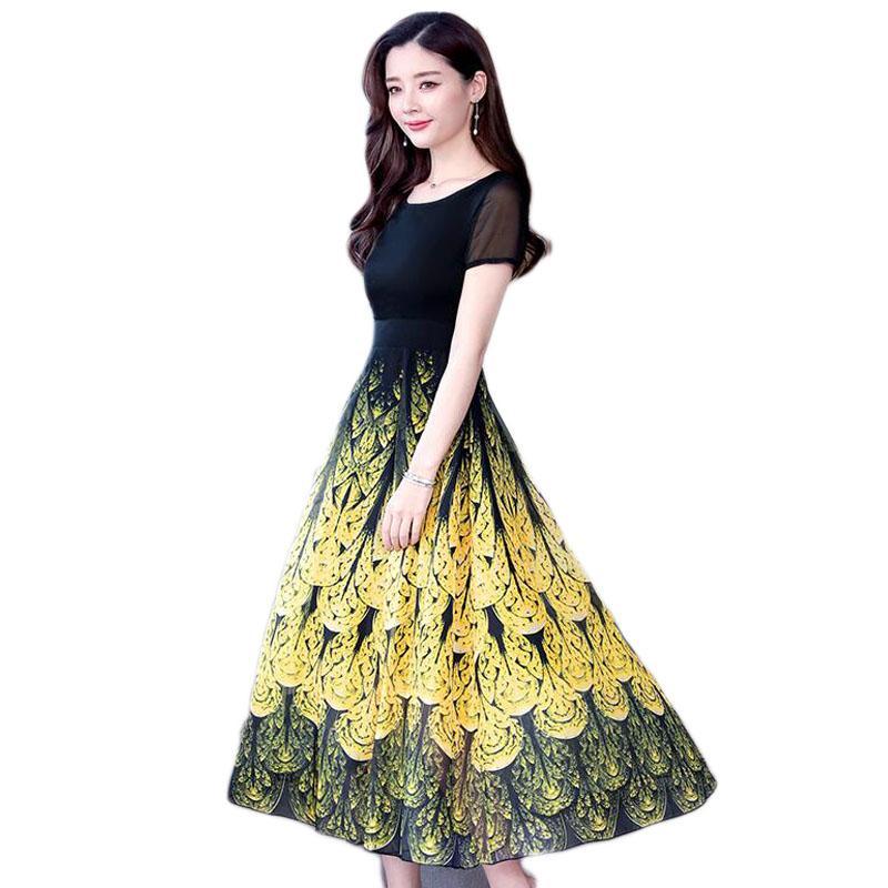 2019 Women Summer Dress Plus Size Short-sleeved Chiffon Sunflower Long  Dress Slim Waist Rockabilly Summer E199