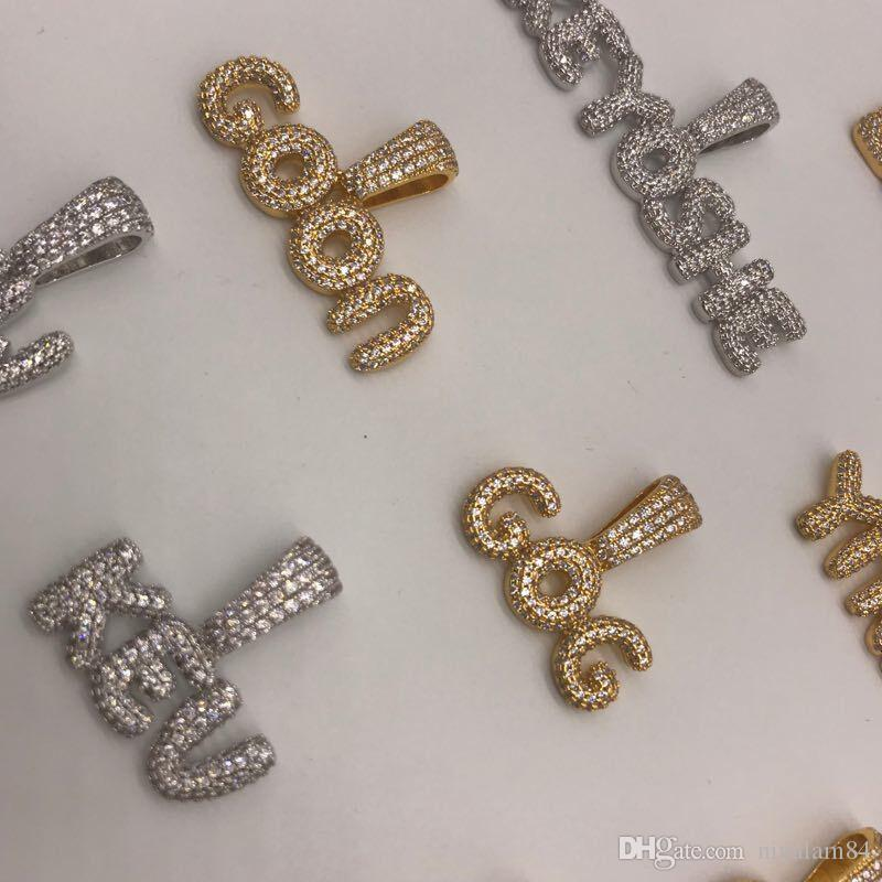 a4a63da69f74 Compre Joyas Personalizadas Hielo Nombre Cadena Pequeña Burbuja Goteo Carta Colgante  Joyería Hip Hop A  27.74 Del Ninalam84