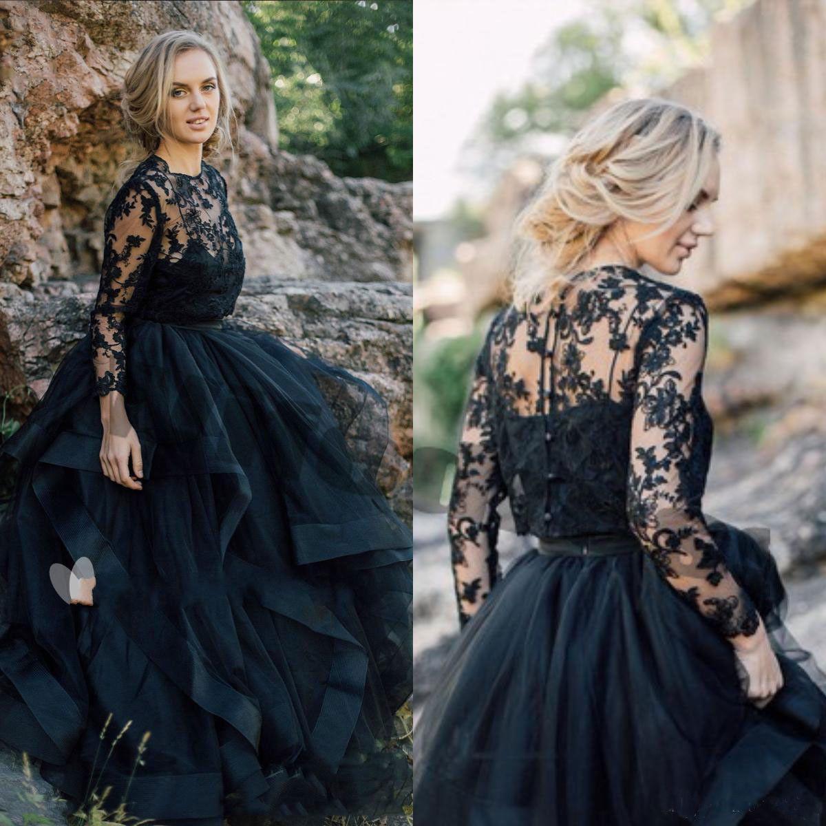 7ea976b8fe81 Discount Beach Gothic Black Wedding Dresses With Long Sleeve Jacket  Appliqued Tull Bridal Gowns French Lace Vestido De Noiva Garden Wedding  Dress Wedding ...