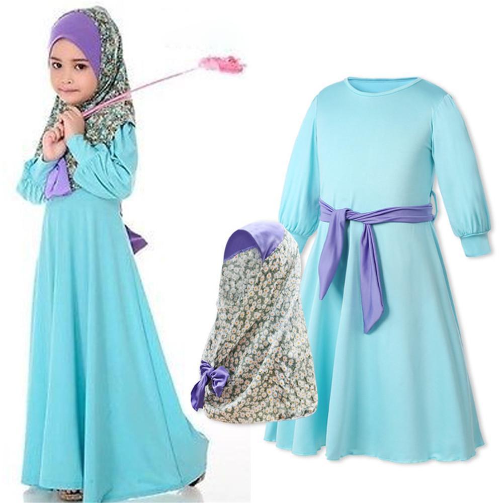 db3f08b292254 Acheter Costumes Traditionnels Musulmans Enfants Filles Hijab Robe Solide  Islamique Ramadan Porter Hijab Foulard Filles Costume De  27.02 Du Cfendou  ...