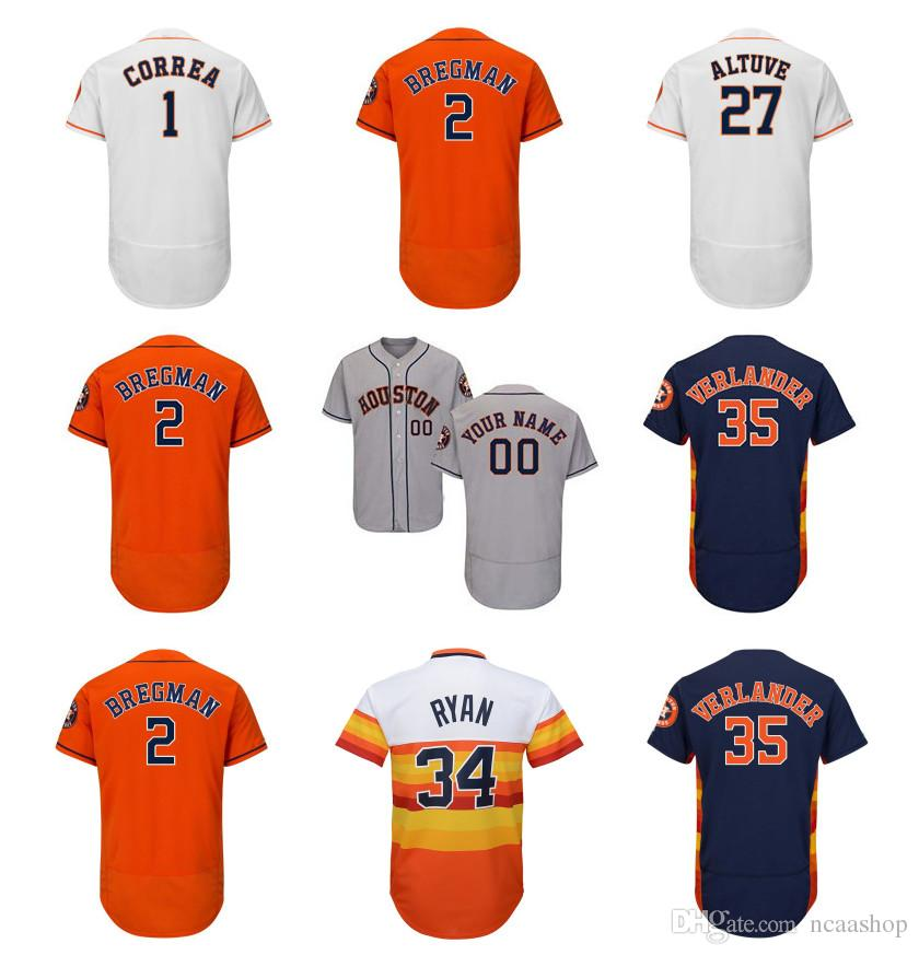 competitive price ac8d5 325e5 Custom Houston Astros Jersey Carlos Correa Alex Bregman Ryan George  Springer Michael Brantley Jose Altuve Justin Verlander Baseball Jersey