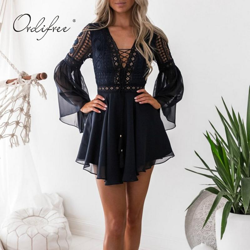 Ordifree 2019 Summer Sundress Women Lace Up Dress Long Sleeve Sexy ... debb3df1a72a