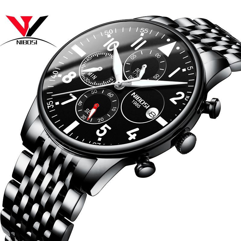 Relogios NIBOSI Masculinos Top Brand 2019 Watch Men Black Quartz Wristwatch Sports Watches For Men Full Steel Male Clock Saat