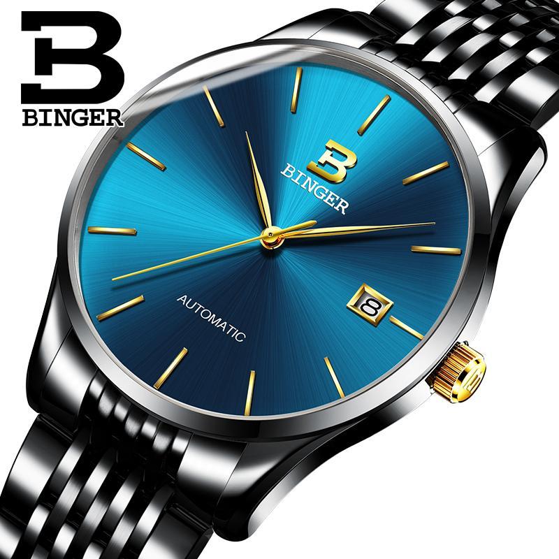 e1f6abb9eab Compre Suíça BINGER Moda Simples Relógio Azul Homens Relógios De Luxo Da  Marca Masculina Mecânica Automática Mens Relógios Sapphire Relogio De  Goodlines