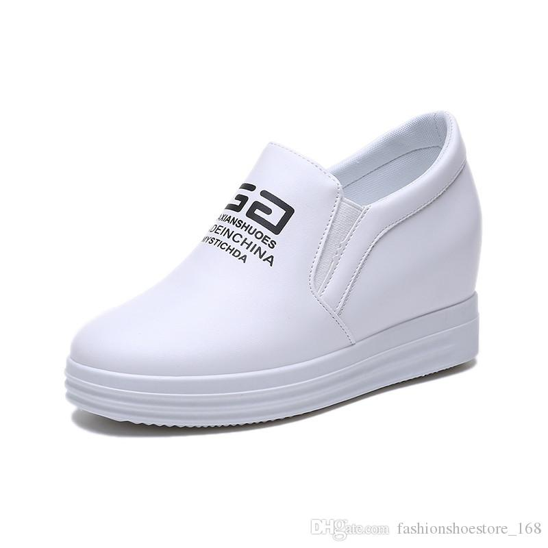 aa4361afeaa3 Hot Sale 2019 White High Heel Wedges Platform Sneakers 8CM Height Increasing  Pu Leather Ladies Black Shoes Comfortable Woman Casual Shoes Mens Boots ...