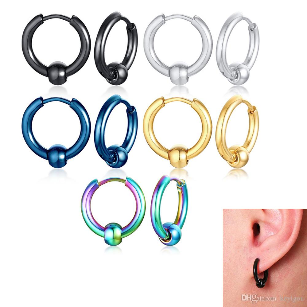 Removable Bead Small Hoop Earrings for Women Men 5 Colors Stainless Steel Circle Earrings Punk Brincos