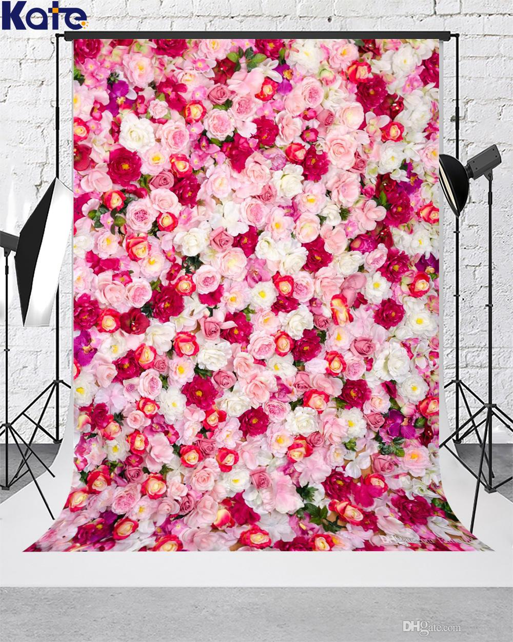 Kate White and Red Flowers Photography Backdrops Birthday Party Decoration Background Children Baby Shower Backdrop for Photography