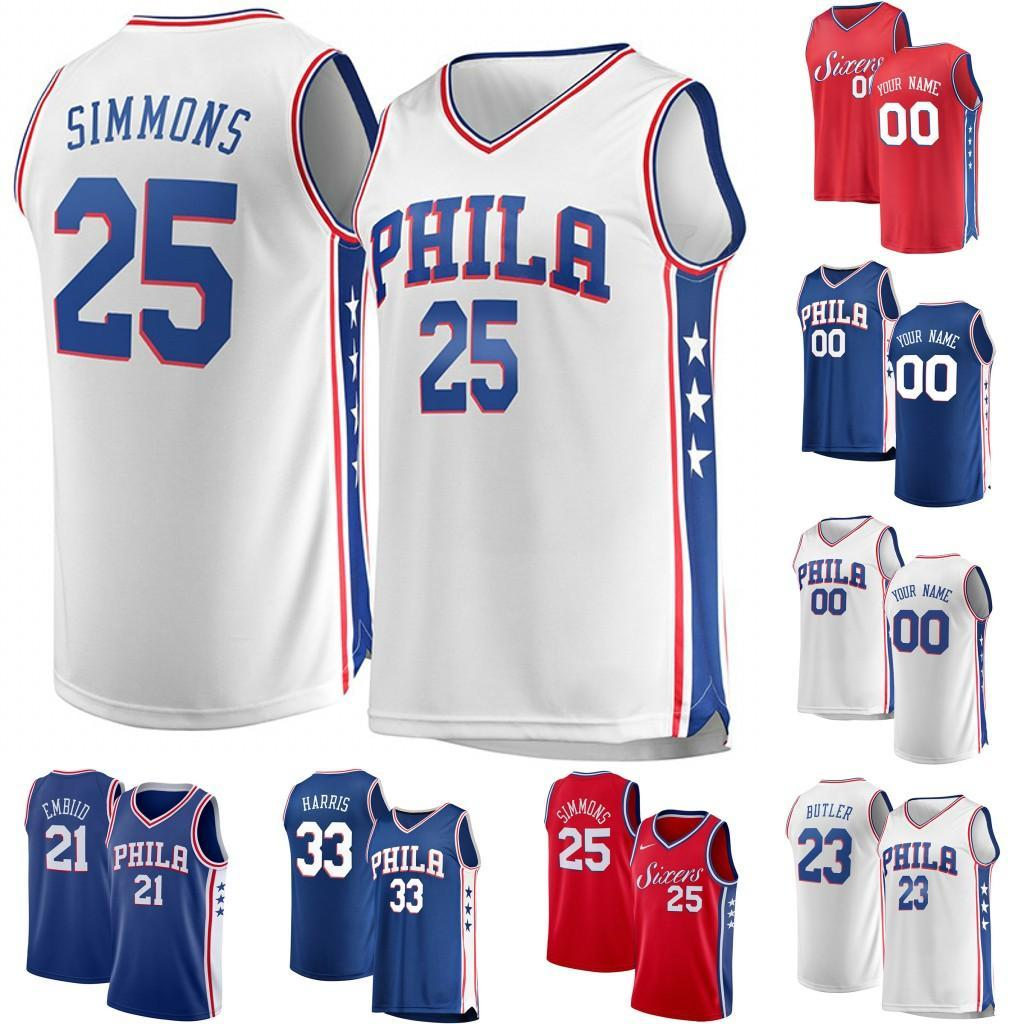 the latest 23ef4 e4283 Mens Philadelphia Jersey Simmons McConnell 1 Mike Scott 5 Amir Johnson 55  Greg Monroe 33 Tobias Harris Butler Embiid Basketball Jersey