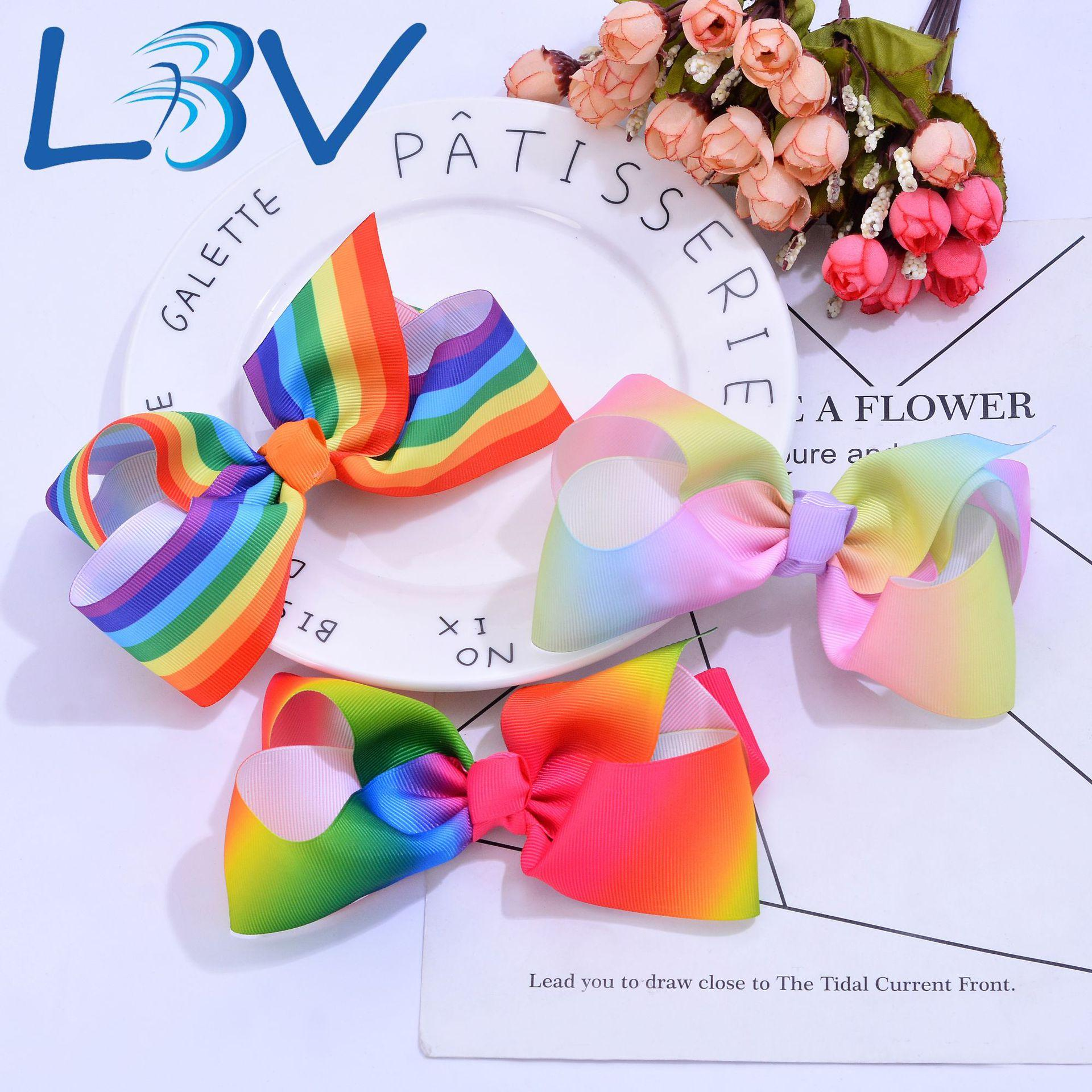 European and American hot children's hair accessories Rainbow gradient color thread bow handmade tiara hairpin ornament manufacturers
