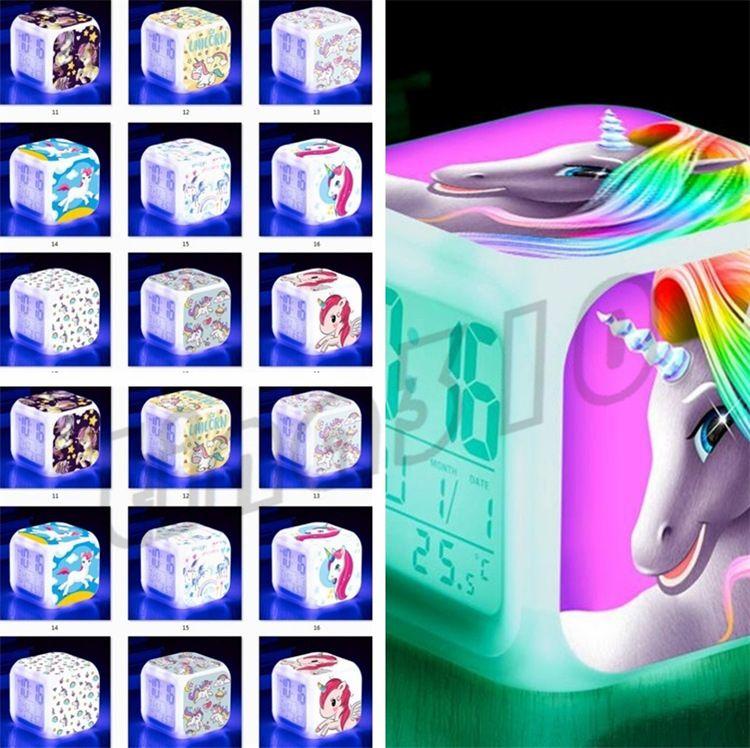 New Unicorn alarm clocks colorful LED square clock student creative gifts  discoloration small alarm clock Kids LRD Toys I505
