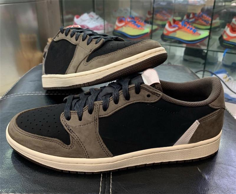 2019 Nueva versión Travis Scott X 1 LOW OG TS SP 1S MENS Zapatillas de baloncesto Vela Dark Mocha University Red Zapatillas deportivas al aire libre CQ4277-001 US7-13