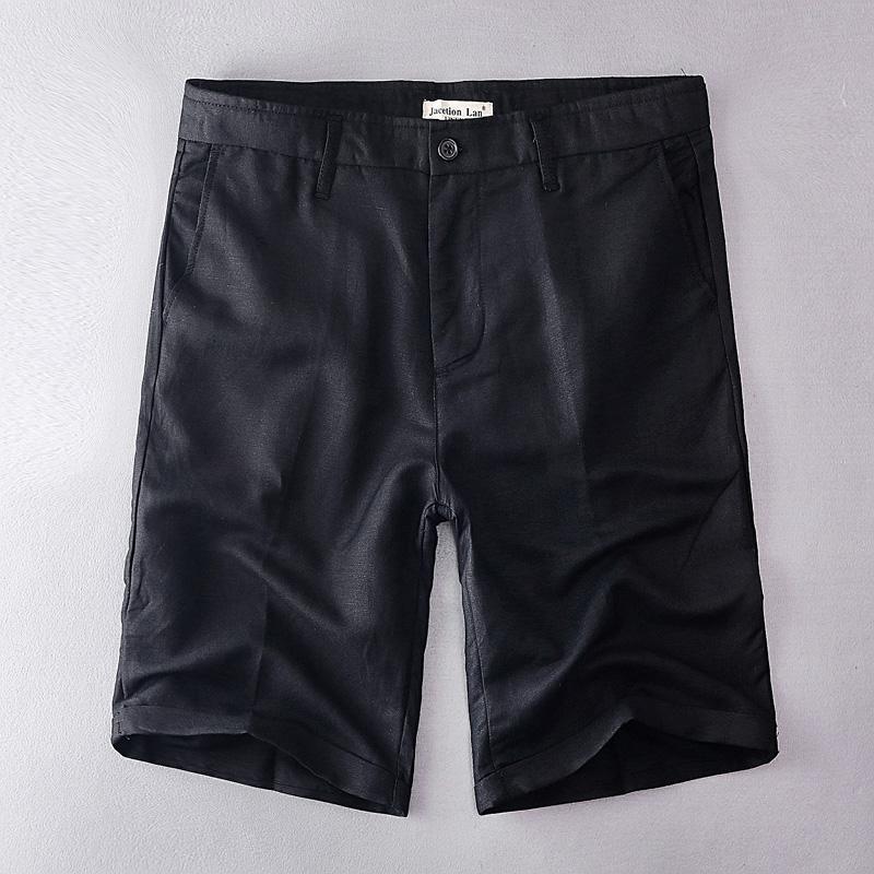 Pantalones Marca Hombre Corto Masculino Ropa De Los Para Algodón 38 Negro Moda Casual Cortos Lino Hombres 2019 Verano n0mN8vw