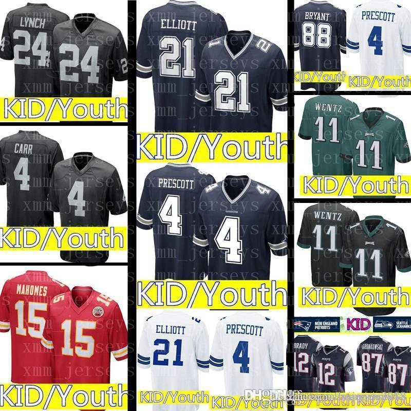 KID Dallas Cowboys 21 Ezekiel Elliott 4 Dak Prescott Jersey Youth ... 4eb47b98c