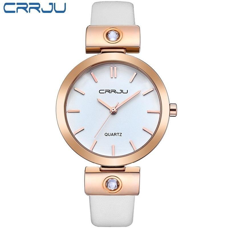 5297cc33663d Compre CRRJU Marca De Lujo De Alta Calidad Sencilla Pulsera De Cuero De Cuarzo  Reloj De Las Mujeres Señoras Reloj De Pulsera De Oro Rosa Reloj Mujer A ...