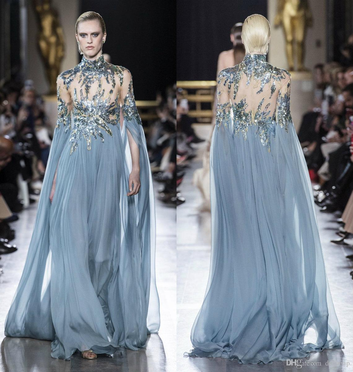 f22fc23f3f74 2019 Elie Saab Prom Dresses High Neck Illusion Bodice Sequins A Line Sweep  Train Long Sleeve Evening Dress Custom Made Formal Party Gowns Cheap Camo  Prom ...