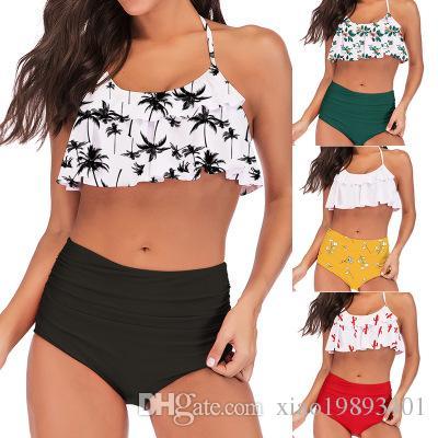 b82ccf74d7e 2019 2019 Palm Tree Push Up Bikini Set Women Helter Ruffle Swimwear Sexy Off  Shoulder High Waist Swimsuit Women Beach Bathing Suit From Xiao19893401, ...