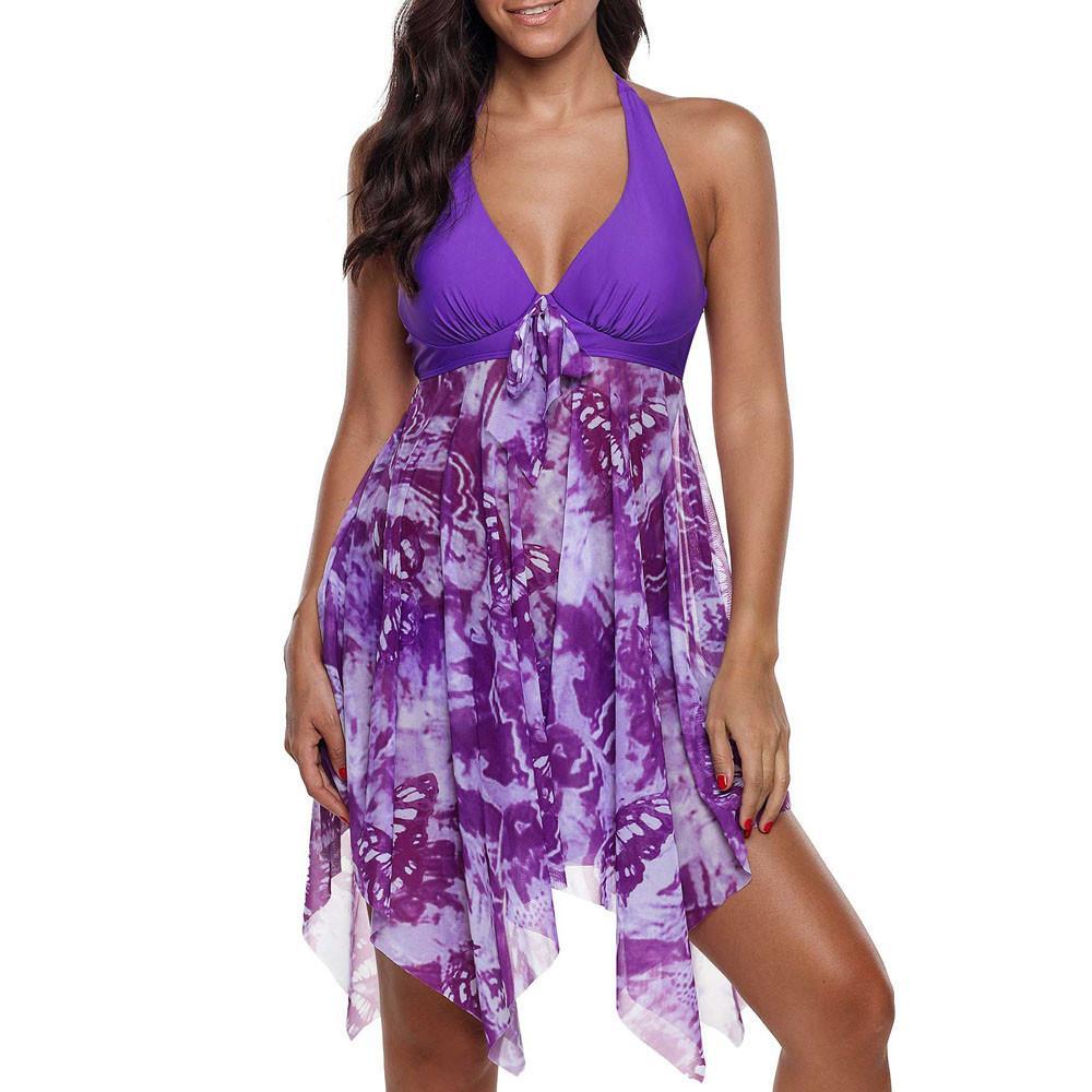 dc80de6195469 2019 Women Print Swimwear Tankini Asymmetric Hem Halter Swimdress And Panty  Beachwear Swimming Suit For Women Plus Size Two Pieces C19030201 From  Tai002, ...
