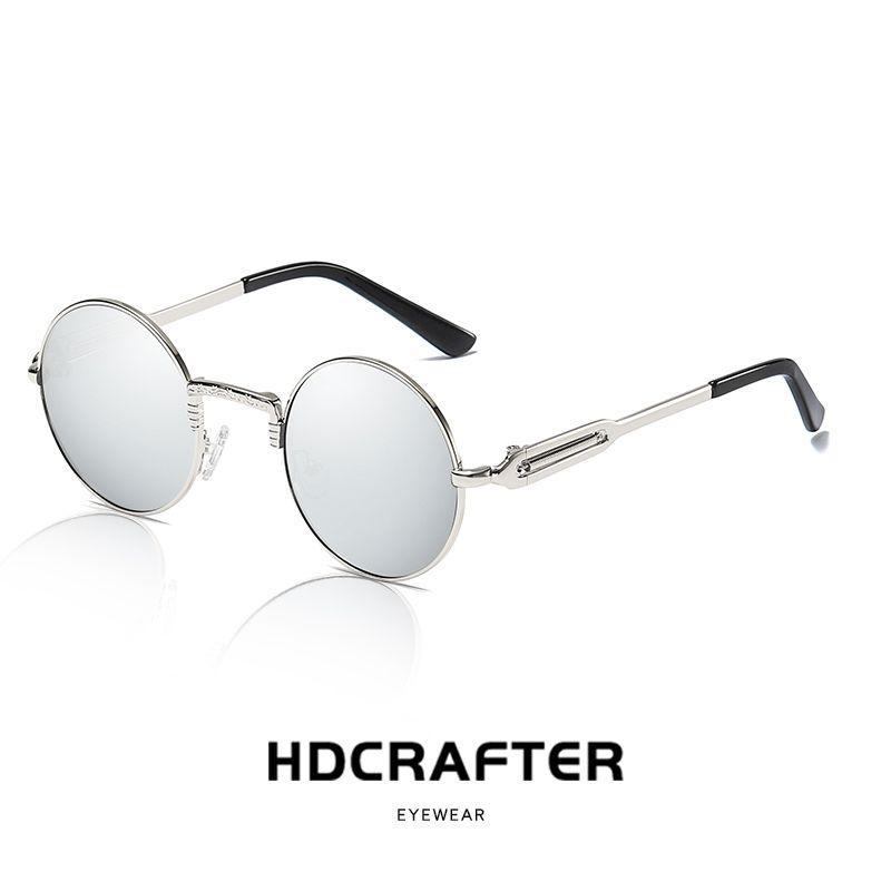 ba064db92b7 Steampunk Round Metal Sunglasses Men Polarized Women Mirrored Circle Sun  Glasses Brand Designer Retro Vintage Oculos UV400 Cheap Designer Sunglasses  ...