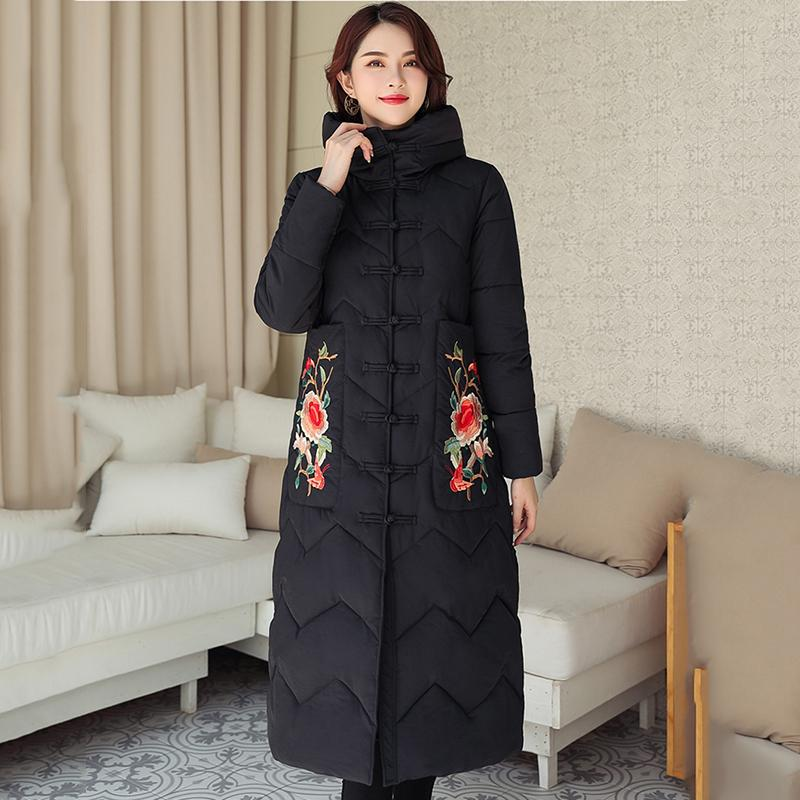 2019 High Quality Winter Jacket Women Warm Thicken Chinese Style Retro Ladies Outwear Coat Female Hooded Long Parka