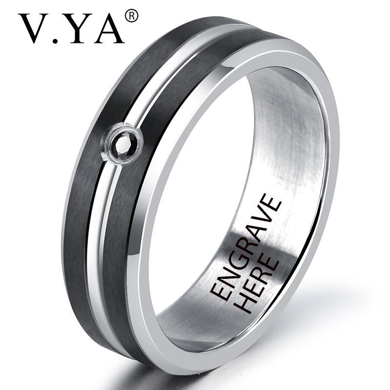 e97852f978 V.YA New Style Black Silver Customized Rings For Men Stainless Steel  Engraved Name Ring Size7 11 For Male Gift Diamond Earrings Rose Gold  Engagement Rings ...