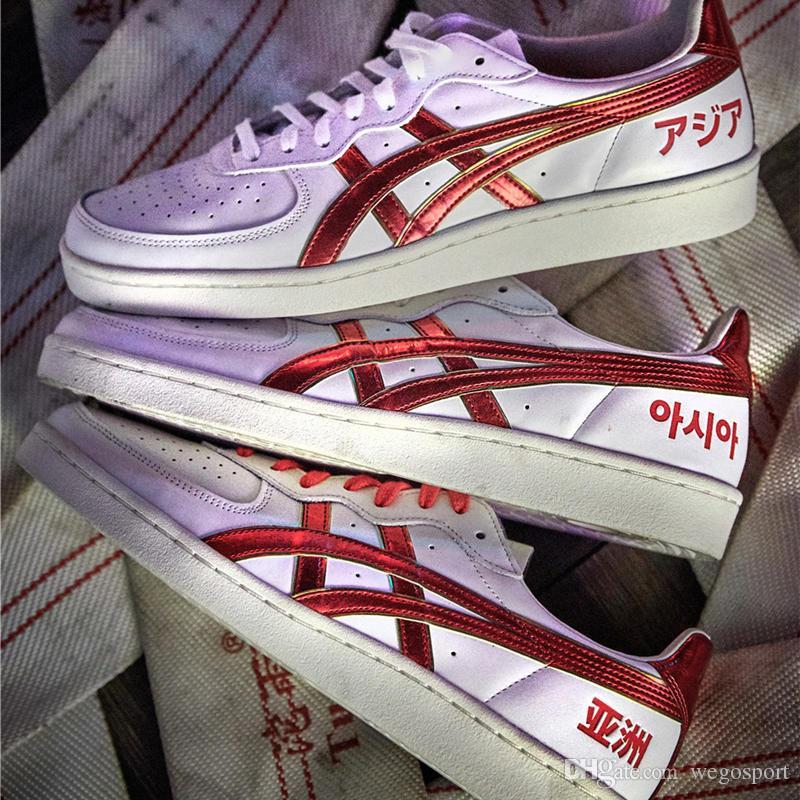 4aadb5844b055 Asics Skateboard-Schuhe Onitsuka Tiger Herren Damen Sport Sneakers Athletic  Laufschuhe Weiß Rot Designer Schuhe Größe 36-44