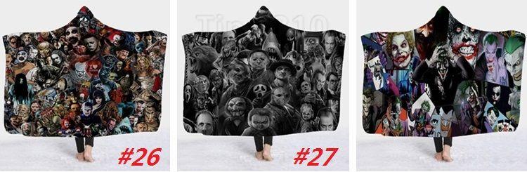 Nueva Serie de Películas de Terror Súper Suave y Acogedora Manta de Capa En Tapa Manta Cálida para Couch Throw Viajes Con Capucha Anime Mantas 4805