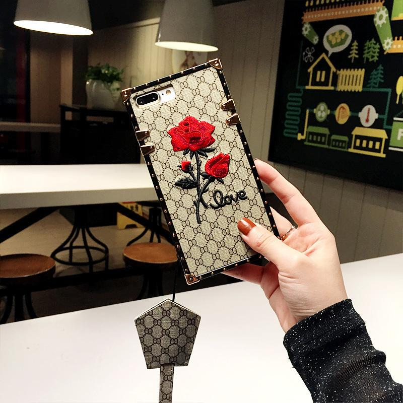 2019 New Designer Samsung Case for S8 S8P Luxury Embroidered Rose Design Back Cover with Same Paragraph Lanyard Two Colors Wholesale