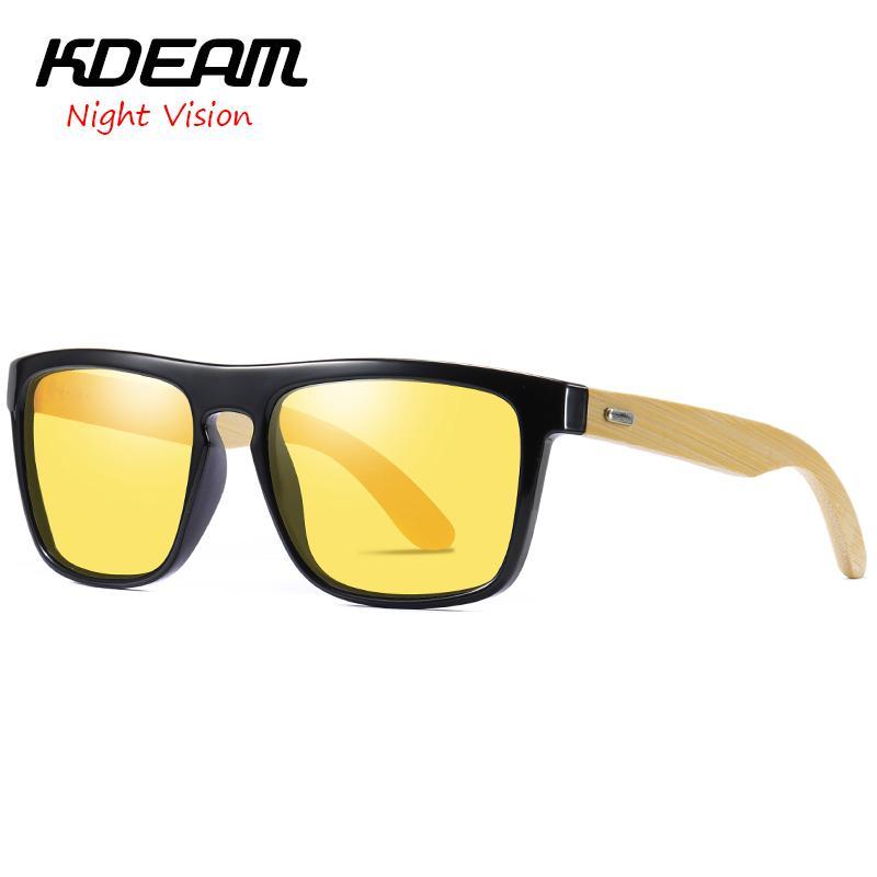 38bc7dd252e Night Vision Bamboo Material Men Square Polarized Sunglasses KDEAM ...