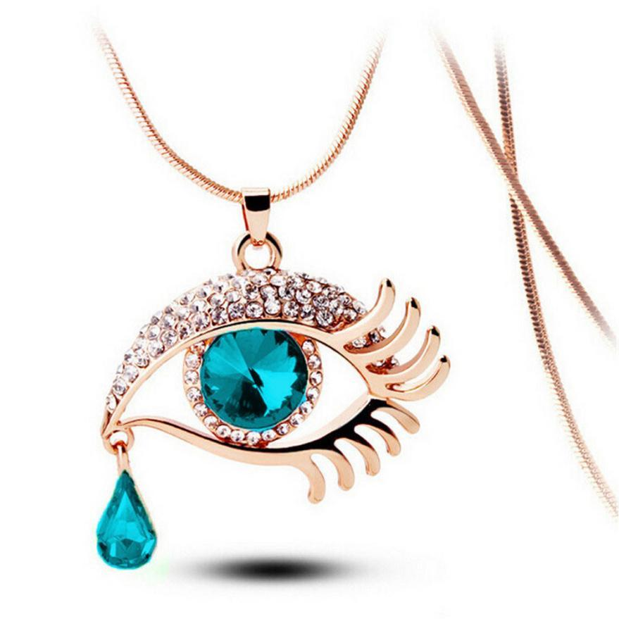 OTOKY 2018 Fashion Chain Necklaces Crystal Magic Eye Tear Drop Eyelashes Pendant Long Necklace Collana Jewelry Dropship Mar13