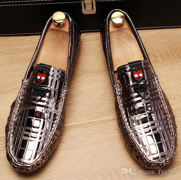 ec58c9fc8178 Men Loafers Doug Shoes Bright Surface Patent Leather Soft Bottom ...
