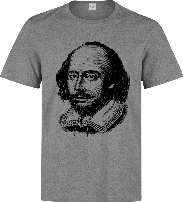 2e5f2cd0 William Shakespeare Legendary Writer Black Artwork men's grey t shirt