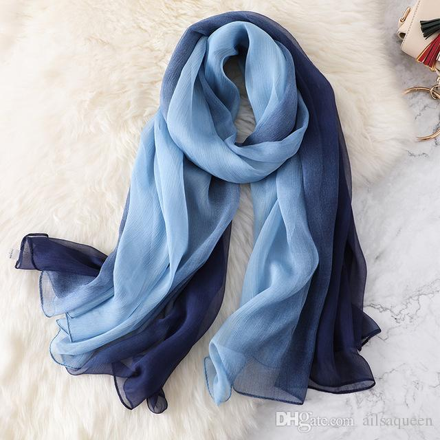 0c89e8b74823f 2019 Womens Gradient Color Scarves Large Silk Chiffon Scarf Shawl Wraps  Lightweight Scarf Designer Scarves 170 X 145CM From Ailsaqueen, $4.82 |  DHgate.Com