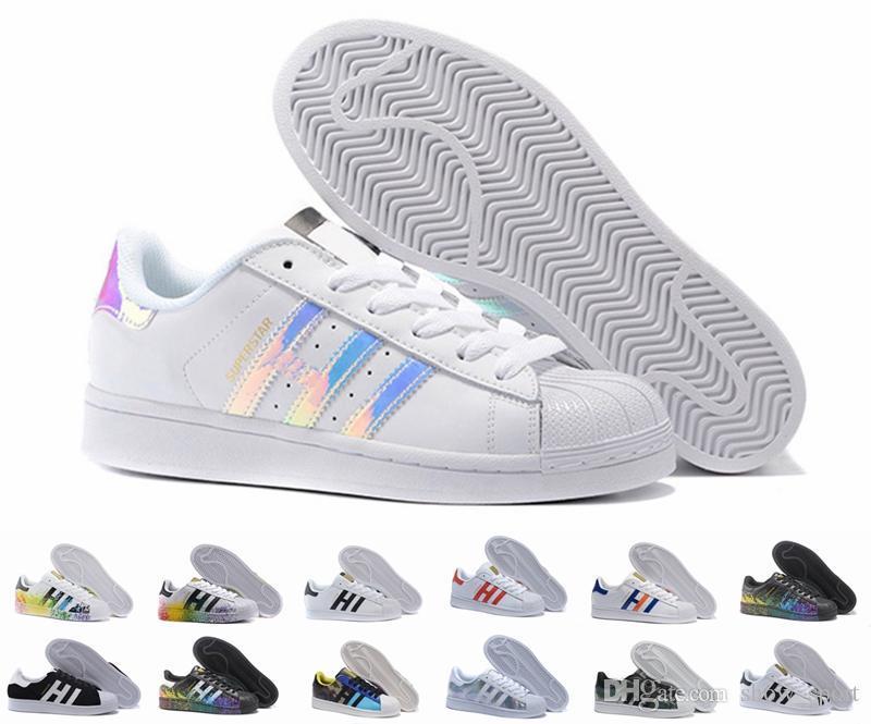 Adidas Originals Superstar White Hologram Iridescent AQ6278 Women's Casual Shoes