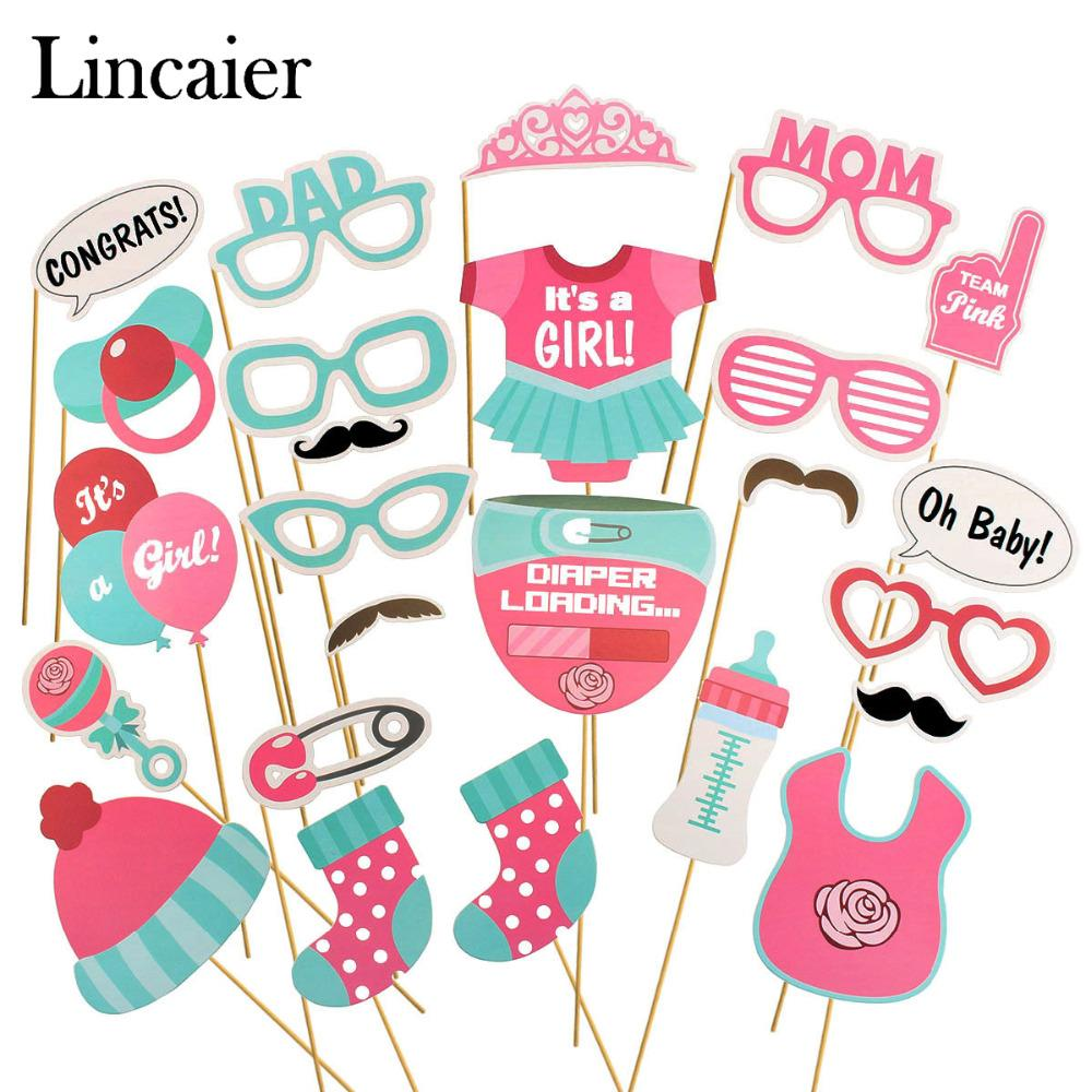 Lincaier Baby Shower Photobooth Props Its a Boy Girl Party Decorations Supplies Games Babyshower Gender Reveal Oh Baby
