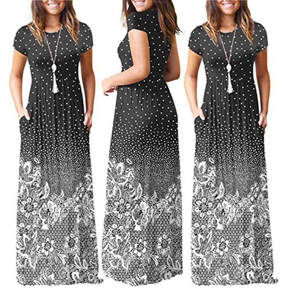 e9c868358b6 2019 Summer Long Dress Floral Print Boho Beach Dress Tunic Maxi Dresses  Women Evening Party Dress Sundress Vestidos De Festa Short And Long Dress  Pink ...