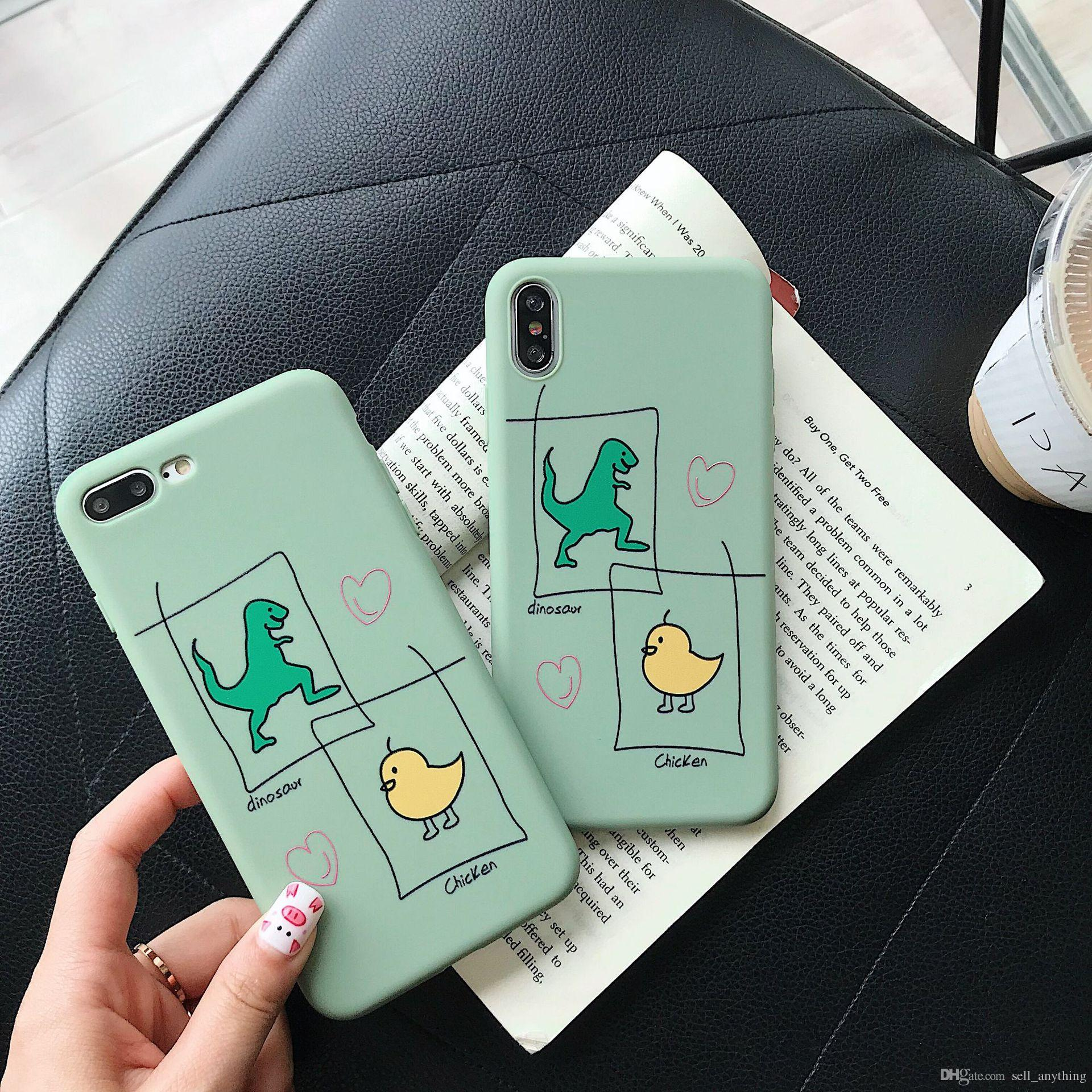 cheap for discount e6698 d034a For Iphone Xs Mxs Phone Cases Instagram Hot Cartoon Dinosaur Chick TPU Soft  Cell Phone Case For Iphone 6 7 8 Plus Xr
